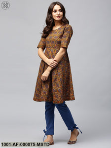 Mustard Printed A-Line Kurta With Blue Solid Pant Set