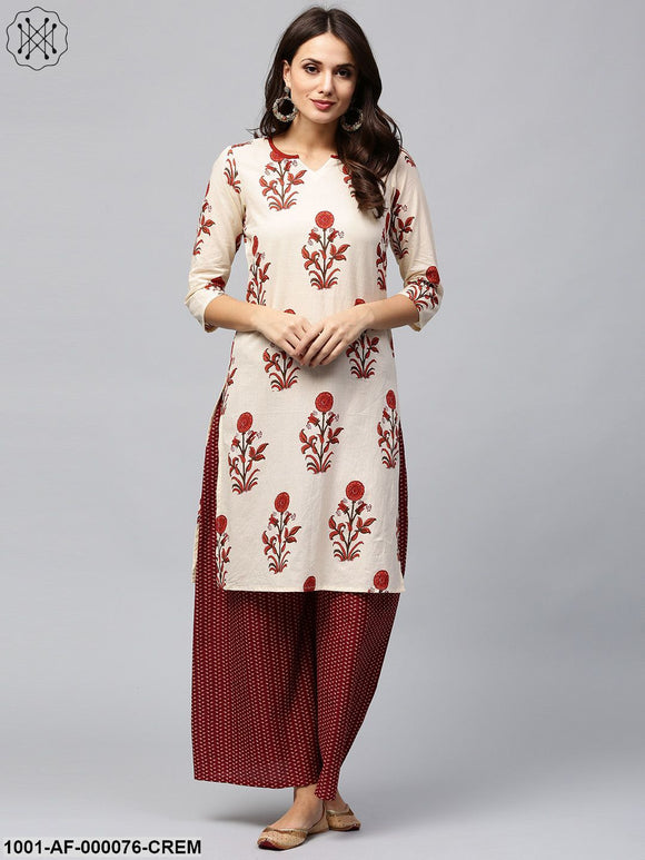 Cream & Maroon Floral Printed Kurta With Palazzo Set