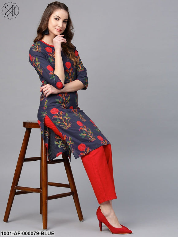 Blue & Red Floral Printed Kurta With Red Solid Pant Set