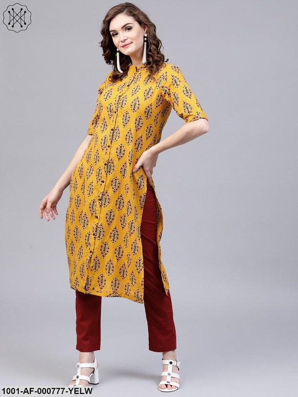 Yellow Printed Kantha Work Straight Kurta With Solid Pant Set