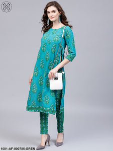 Green Floral Printed Kurta With Pant Set
