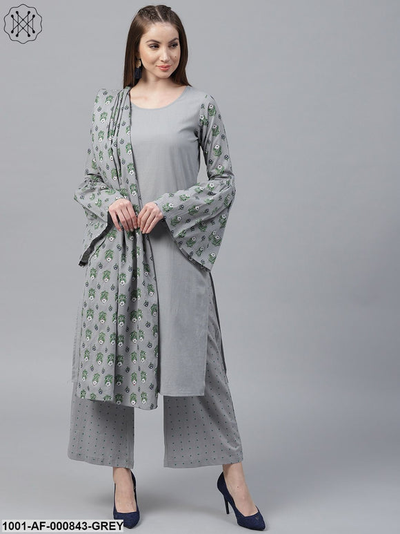 Grey Floral Printed Straight Kurta With Dot Printed Palazzo & Dupatta Set