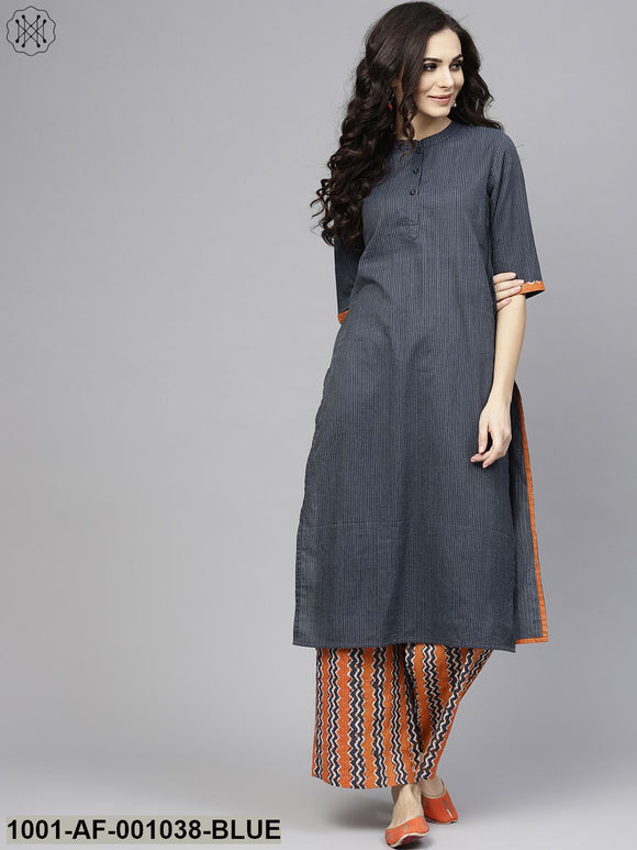 Blue & Orange Kantha Work Kurta With Palazzo Set