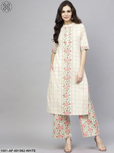 White Checked Print Straight Kurta With Palazzo Set