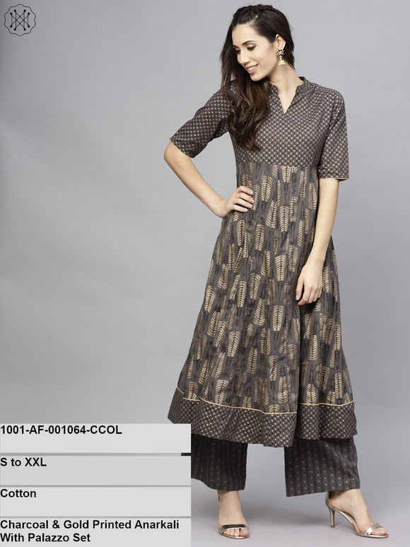 Charcoal & Gold Printed Anarkali With Palazzo Set