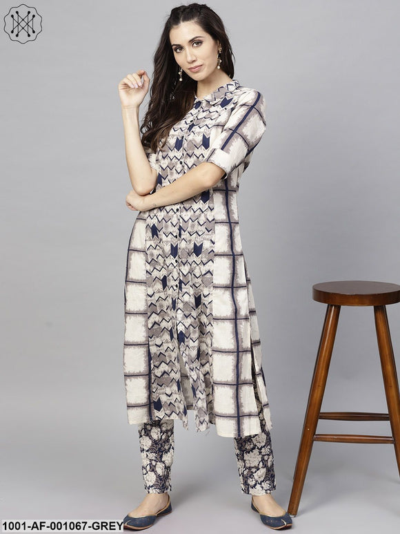 Grey & Beige Checked Printed A-Line Kurta With Pant Set