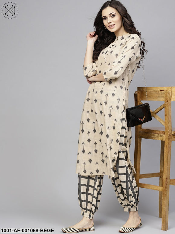 Beige & Black Printed Straight Kurta With Salwar Set