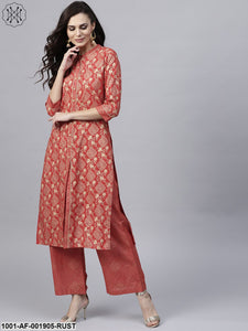 Rust Gold Printed Straight Kurta With Palazzo Set