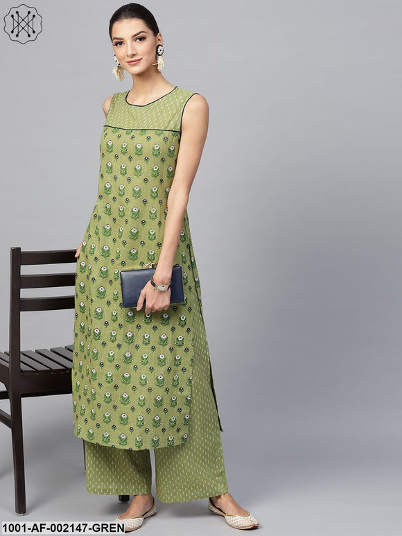 Green & Blue Floral Printed Sleeveless Kurta With Palazzo Set
