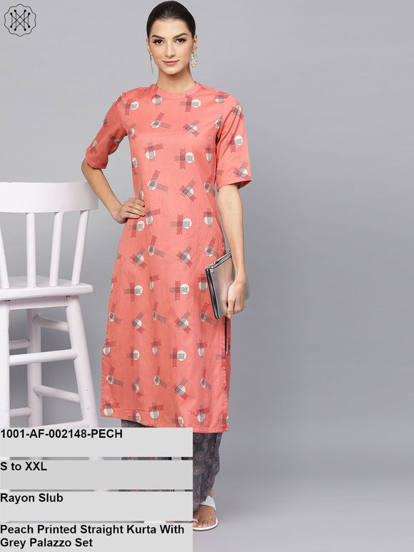 Peach Printed Straight Kurta With Grey Palazzo Set