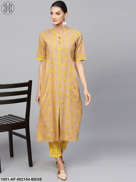 Beige & Yellow Printed A-Line Kurta With Pant Set