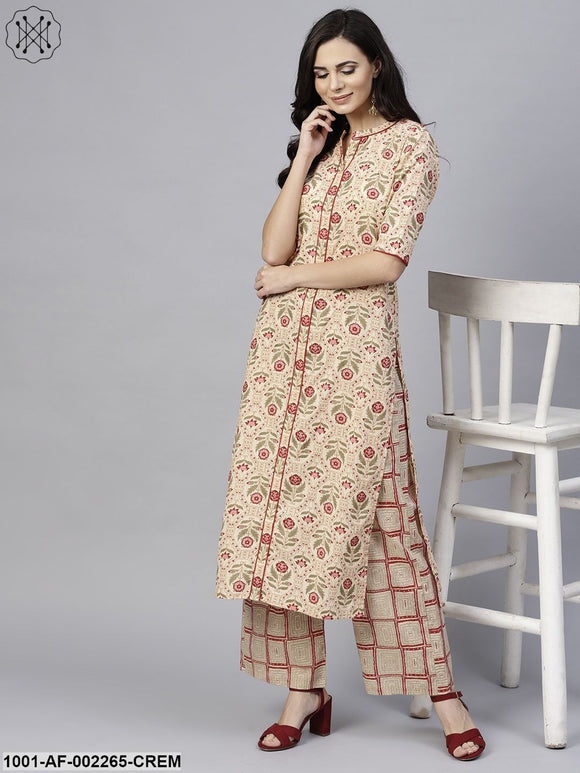 Cream & Red Floral Printed Straight Kurta With Palazzo Set