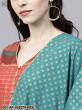 Red Gold Printed A-Line Kurta With Blue Printed Palazzo & Dupatta Set