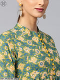 Green & Yellow Floral Printed A-Line Kurta With Pant Set