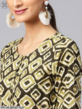Olive & Cream Printed Straight Kurta With Palazzo Set