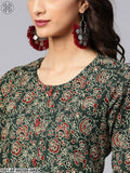 Green Floral Printed Straight Kurta With Palazzo Set