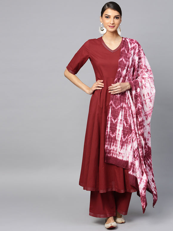 Maroon Solid Anarkali & Palazzo With Tie & Dye Dupatta Set