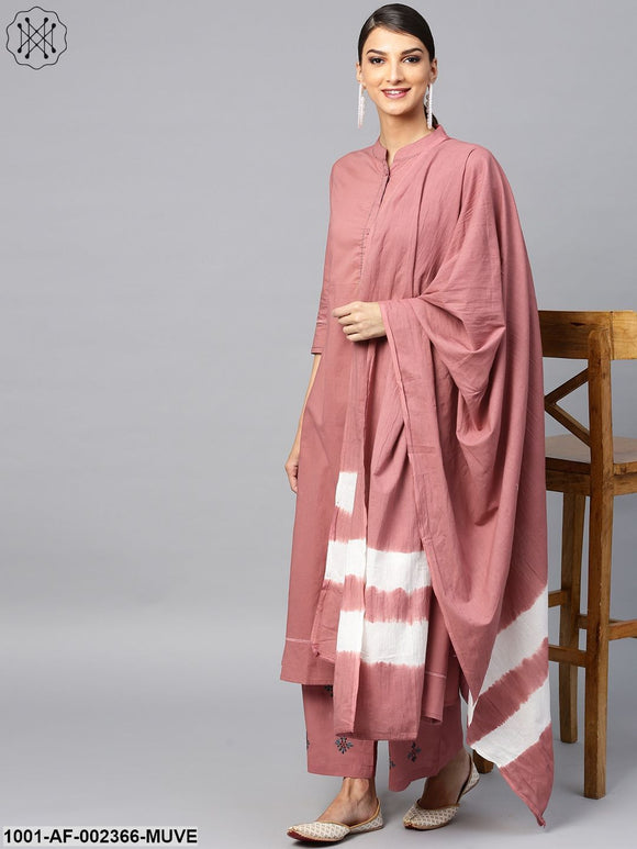 Mauve Embroidered A-Line Kurta & Palazzo With Tie & Dye Dupatta Set