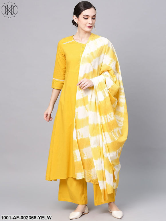 Yellow Solid A-Line Kurta With Palazzo & Tie & Dye Dupatta