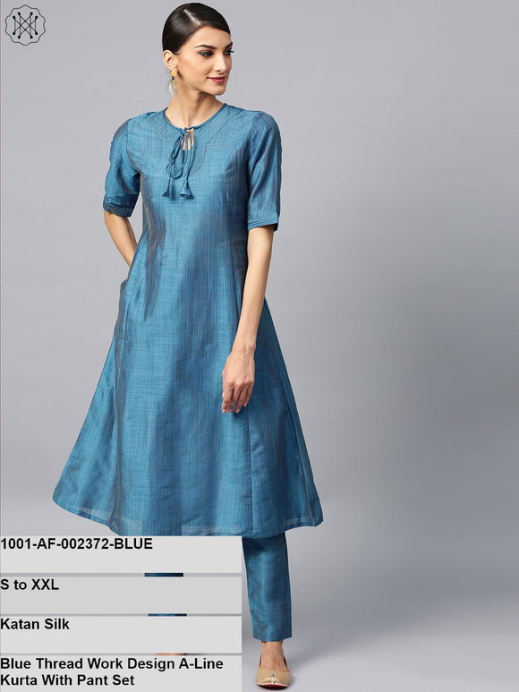Blue Thread Work Design A-Line Kurta With Pant Set