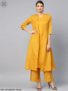 Yellow Striped Printed Layered Kurta With Palazzo Set