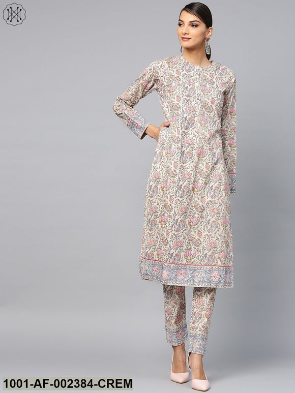Cream & Pink Floral Printed Straight Kurta With Pant