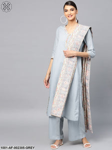 Grey Solid Straight Kurta & Palazzo With Printed Dupatta