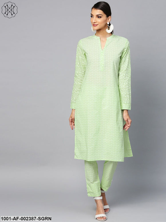 Sea Green Khari Printed Straight Kurta With Pant Set