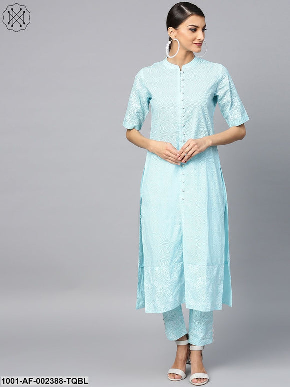 Turquoise Blue Khari Printed Straight Kurta With Pant Set