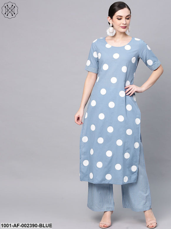 Blue & White Dot Printed Straight Kurta With Pant Set