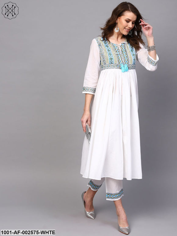 White & Blue Hand Block Printed A-Line Kurta With Pant Set