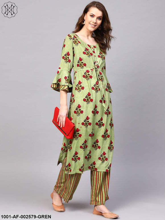 Green & Maroon Floral Printed Straight Kurta With Multi Stripe Print Palazzo Set