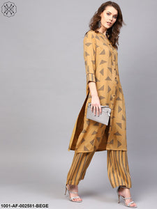 Beige Printed Button Down Kurta With Palazzo Set