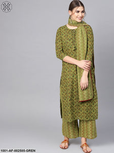 Green Gold Floral Printed Straight Kurta With Palazzo & Dupatta Set