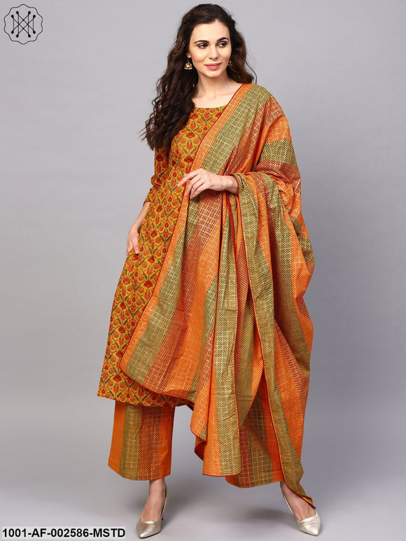 Mustard Gold Floral Printed Straight Kurta With Palazzo & Dupatta Set