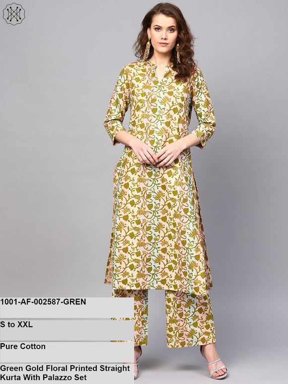 Green Gold Floral Printed Straight Kurta With Palazzo Set