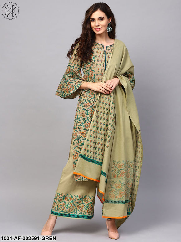 Green & Orange Block Printed Straight Kurta & Palazzo With Dupatta Set
