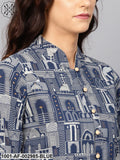 Blue Hawa Mahal Print Kurta Set With Contrast Detail