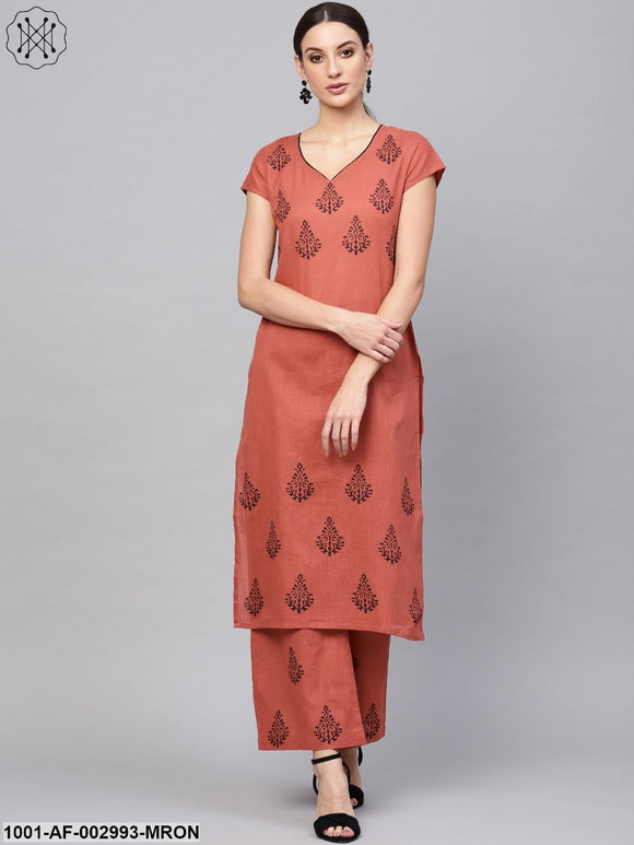 Maroon Block Printed Kurta Set