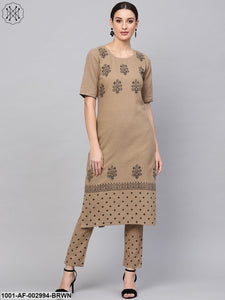 Tan Block Printed Kurta Set