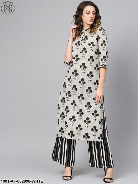 Offwhite Black Printed Kurta Set