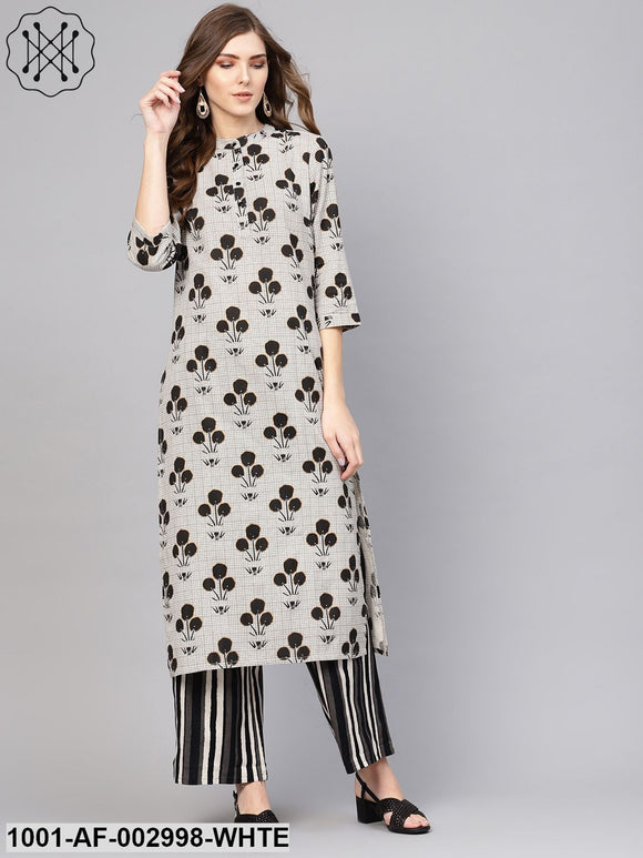 Off-white Black Printed Kurta Set