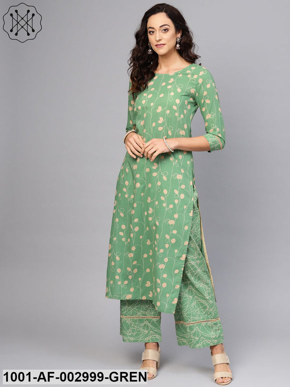 Green Printed Kurta Set With Lace Detailing