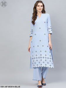 Light Blue Embroidered Kurta Set