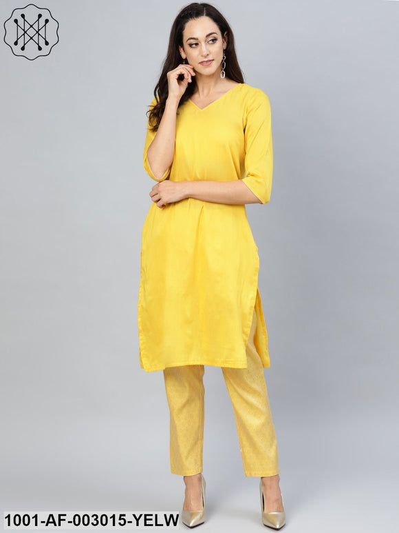Yellow Solid Kurta Set