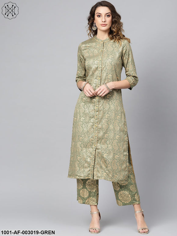Green Gold Printed Kurta Set