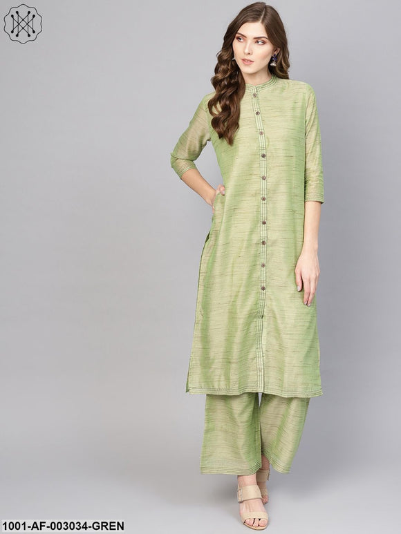 Green Solid Kurta Set
