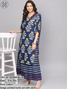 Indigo Printed Kurta Set With Skirt