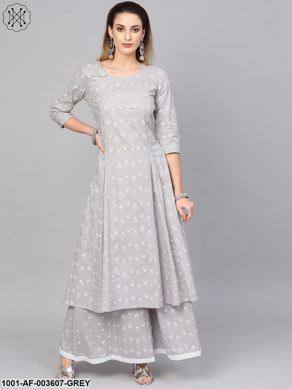 Grey Khari Printed Kurta Set