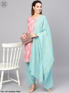 Pink Blue Kurta Set With Leheriya Dupatta